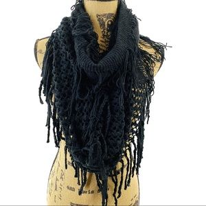 Black Fringe Infinity Mixed Loop Knit Scarf